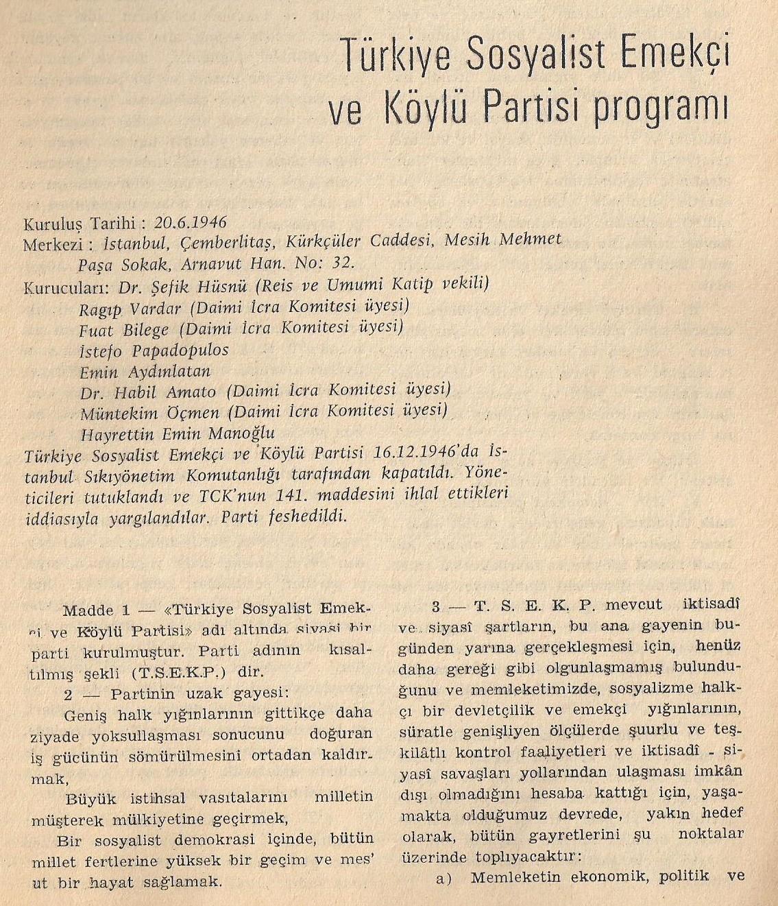 Türkiye Sosyalist Emekçi ve Köylü Partisi Programı